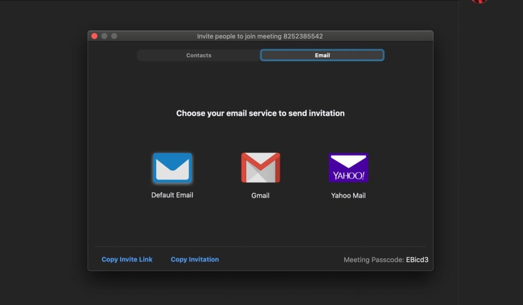 Zoom Email invite
